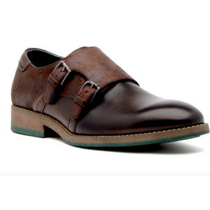 Robert Wayne Thane Leather Monk Strap Loafers Slip